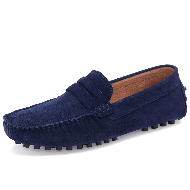 Duży rozmiar wygodne płaskie buty męskie nowe buty na co dzień mężczyźni stado but skórzany dla mężczyzn antypoślizgowe gumowa podeszwa męskie mokasyny 46