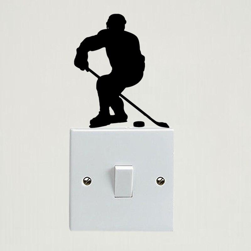 Jugador de Hockey, pegatina de vinilo para pared de dormitorio con personalidad, calcomanía de interruptor de luz 6SS0146