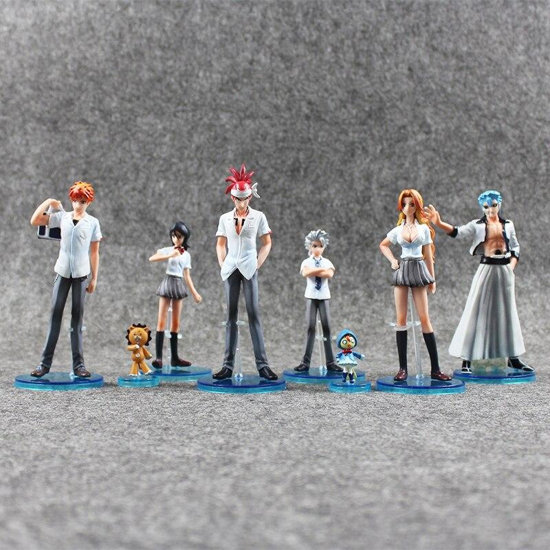 Novo 8 pçs/lote lixívia kurosaki ichigo kuchiki rukia aizen sousuke hitsugaya toushirou pvc figura brinquedo