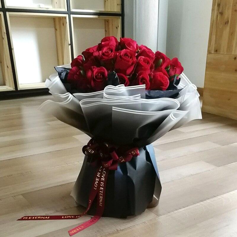60x60 cm Coreano Flores Papel de Embrulho de Presente Bouquet Materiais de Embalagem De Papel Kraft Papéis de Gradiente de cor À Prova D Água