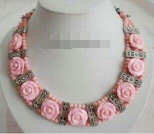 Huij 003929 3 filas Coral Rosa COLLAR COLGANTE de plata tibetana con flores