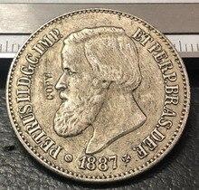 1887 Brazilië 500 Reis Verzilverd Copy Coin