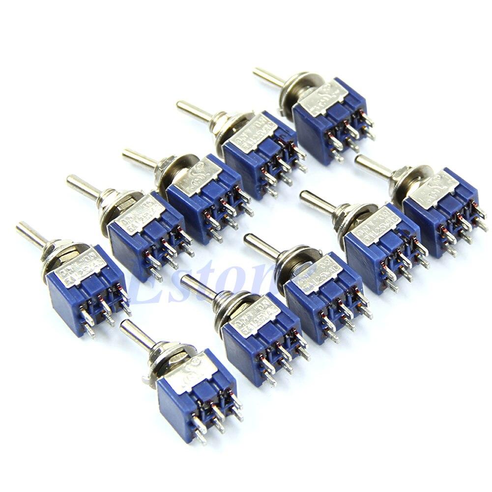 5 unids/lote 6-Pin DPDT en-En miniinterruptor interruptor 6A 125VAC interruptores miniatura