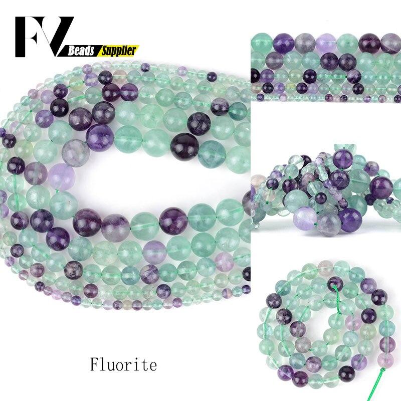 Fluorita Natural cuentas redondas ACCESORIOS 4mm-10mm piedras Semi preciosas cuentas de gemas...
