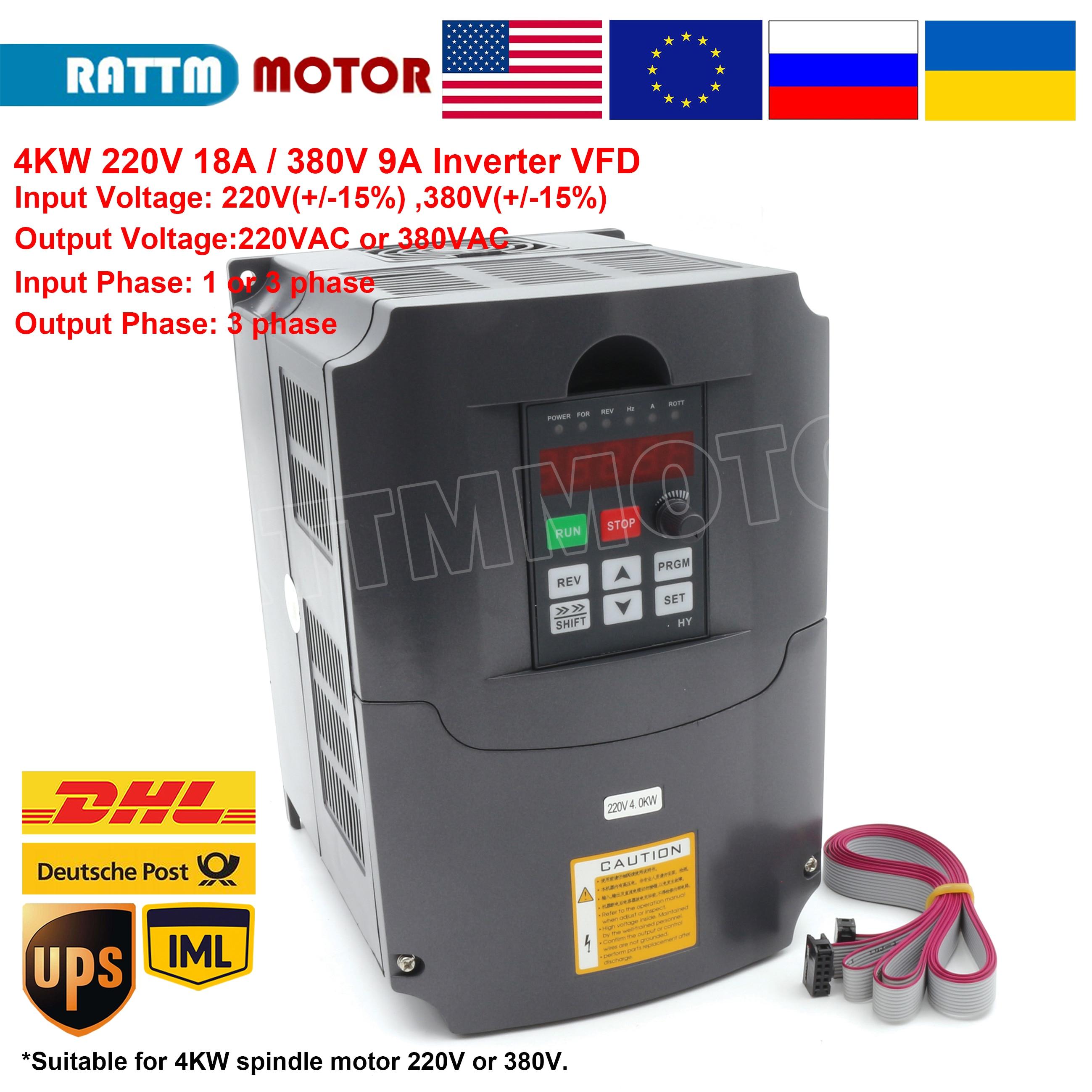 4KW 220V or 380V inverter VFD 3 phase Output Frequency Converter Adjustable Speed 400Hz 18A/9A Speed control