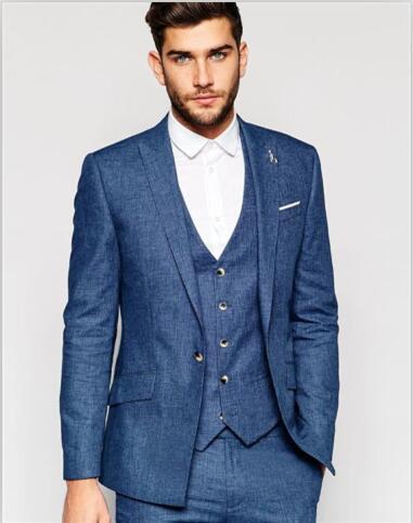 2017 أحدث معطف بانت تصميم الأزرق الداكن الرجال دعوى عادية سليم صالح 3 قطعة بدل زفاف سهرة مخصص العريس السترة Terno Masculino