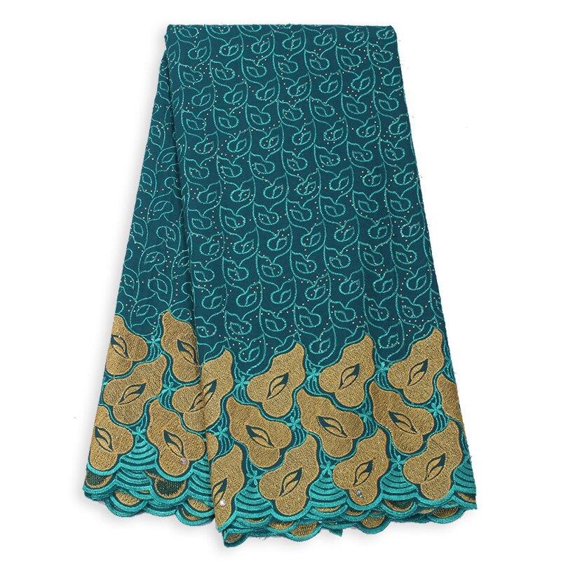 Nuevos encajes suiza de gasa de algodón verde azulado suave para mujer vestido de costura de tela africana corte a mano de 5 yardas de encaje nigeriano de fijación caliente Aso Ebi