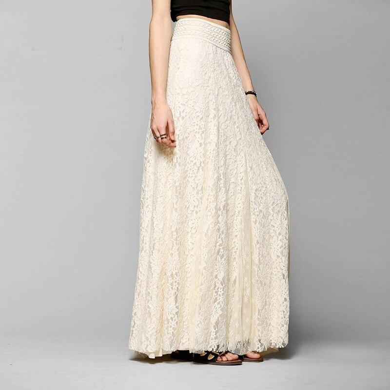 Falda larga blanca de encaje hasta la rodilla para mujer, falda de playa de verano para boda, faldas de tul plisado con apariencia Retro Para Boda, falda para la escuela para mujer