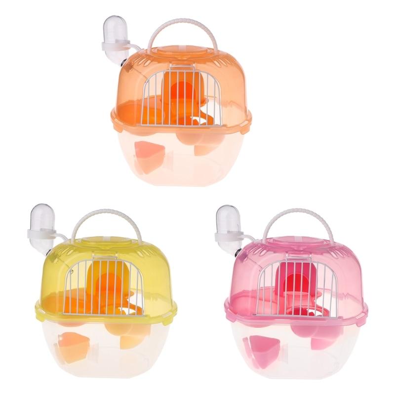 Gaiola de Hamster Sala de Estar Transporte em Plástico Viagem Portátil Dupla Camada
