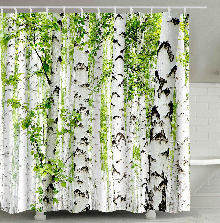 شجرة البتولا-ستارة الحمام ، ستارة الحمام ، مقاومة للماء والعفن ، بأوراق غصن الغابة ، أبيض أخضر بني