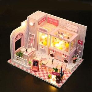 doll machine wooden doll house furniture kit miniatures diy dollhouse  accessories light kids home toys maison poupee en bois