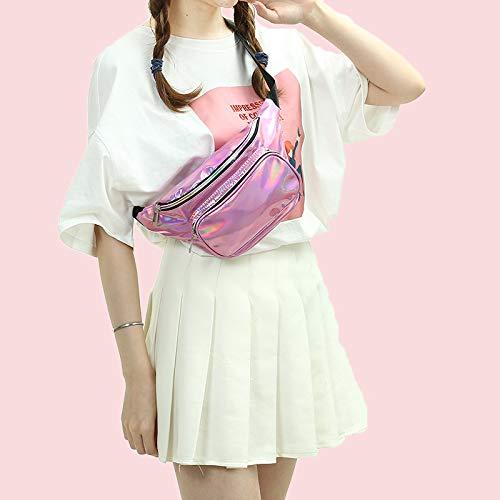 Riñonera de neón brillante Paquete de cintura bolsa para mujer Festival Rave holograma viaje holográfico moda (Arco Iris)