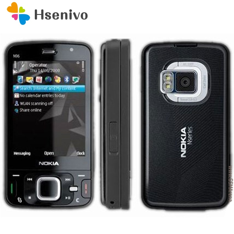 100% entsperrt original Nokia N96 telefon GSM 3G 16GB internen speicher WIFI GPS 5MP,1 jahr garantie renoviert