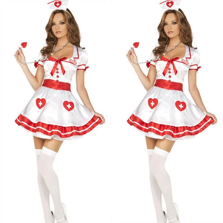 Infirmière Costumes Deguisement Helloween Uniforme Tentation Mignon Blanc Infirmière Sexuelle Moelleux Robe + Chapeau 2 PCS Set Rapide Gratuite T1159