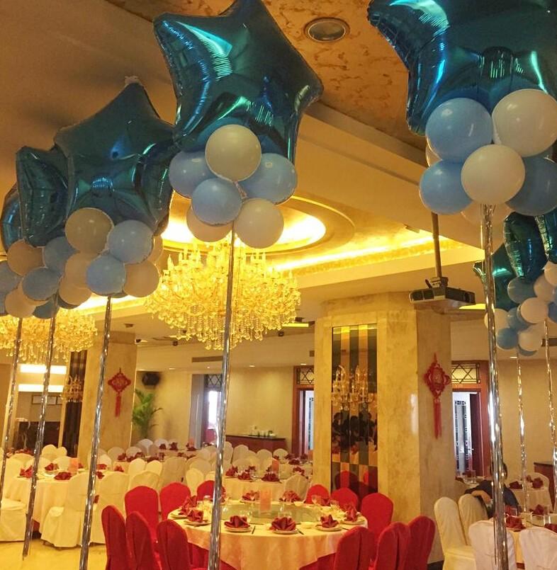 Big star balloon latex balloons sliver cord ribbon wedding