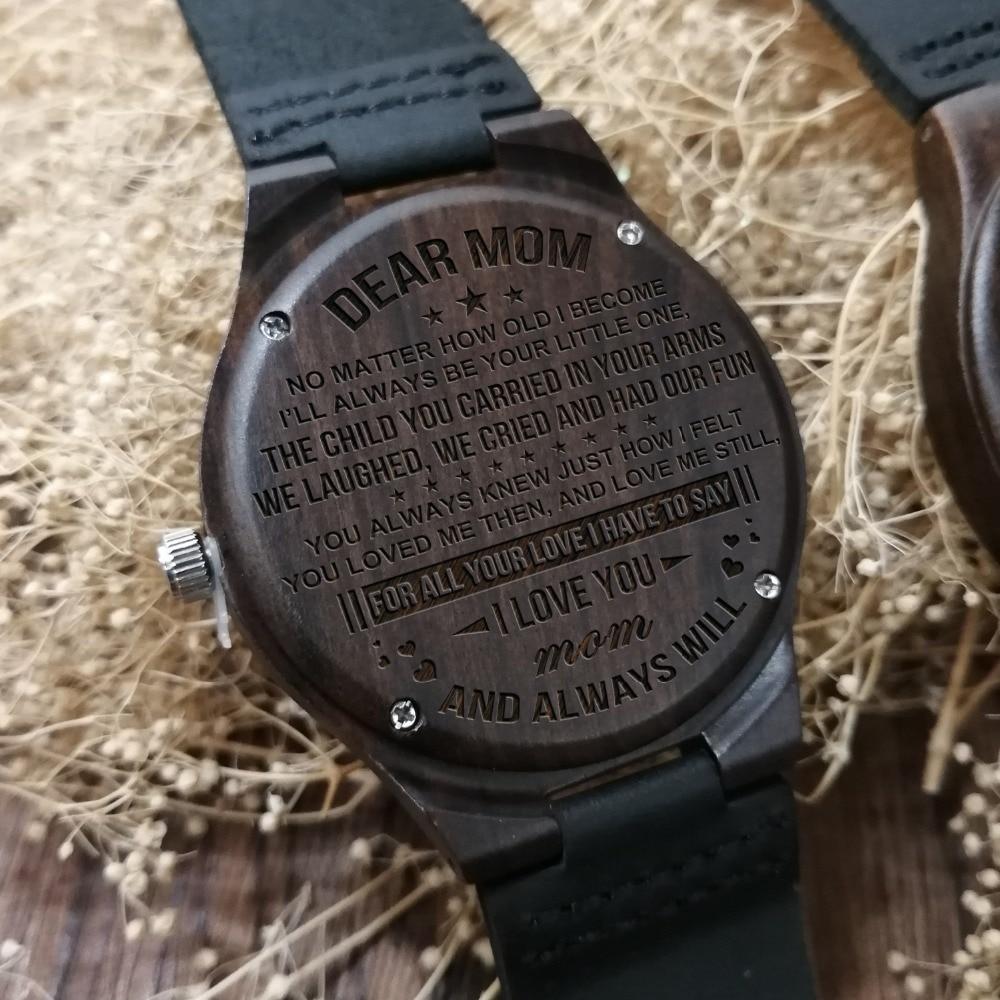 Деревянные часы с гравировкой для моей мамы, роскошные часы с надписью «ваши слова» на часах, наручные часы на день матери, женские часы