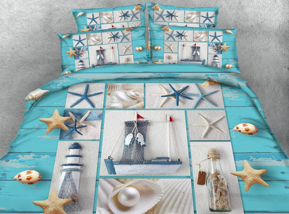 Juego de ropa de cama azul mar 3 piezas, tamaño extragrande 260*220cm, colcha, edredón, doona, fundas de edredón 3D HD, ropa de cama Digital, ropa de cama doble
