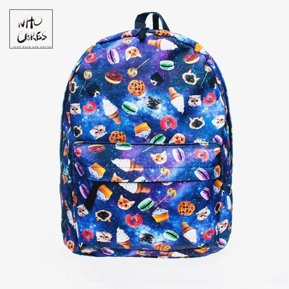 Mode Neue rucksack frauen blau Katze und kekse muster Schule Schulter Taschen mochila feminina rucksack pop kostenloser versand
