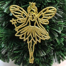 1 PC Gold powder plastic Angel elf Christmas tree pendant Size 14CMX9.5CM Xmas tree present adornments DIY party accessories