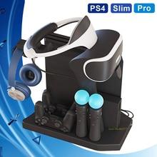 PS4 Pro Slim Fan Vertical Stand,Cooling Cooler,Controller Charger Display Base For PS4 VR Playstation 4 Pro Slim PSVR Showcase