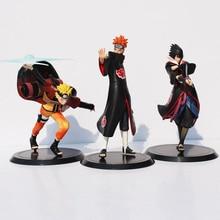 Naruto Uzumaki Naruto + douleur + Uchiha Sasuke PVC figurine modèle jouets 3 pièces/ensemble