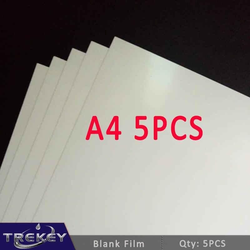 Envío Gratis 5 unids/lote película de impresión de transferencia de agua en blanco para impresora de inyección de tinta, película Hidrográfica de tamaño A4, material decorativo