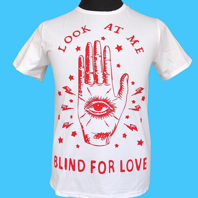 2018 new stamp look at me blind for love Letter hand Eye Stars lightning Seestern brand men's T shirt fashion leisure tops tee