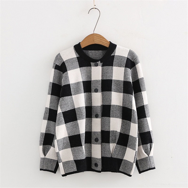 Primavera y otoño nuevo salvaje ajustada contraste Delgado a cuadros suéter chaqueta mujeres, Chaqueta de punto Casual caliente mujeres