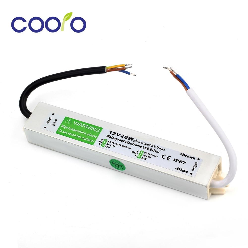 DC 12 V 20 W Waterdicht ip67 Elektronische LED Driver outdoor gebruik voeding led strip transformers adapter, gratis verzending
