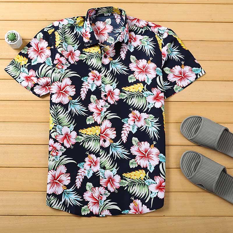 Camisa hawaiana de playa verano tropical para hombre, camisa de manga corta, ropa de marca para hombre, camisas de algodón sueltas casuales de talla grande