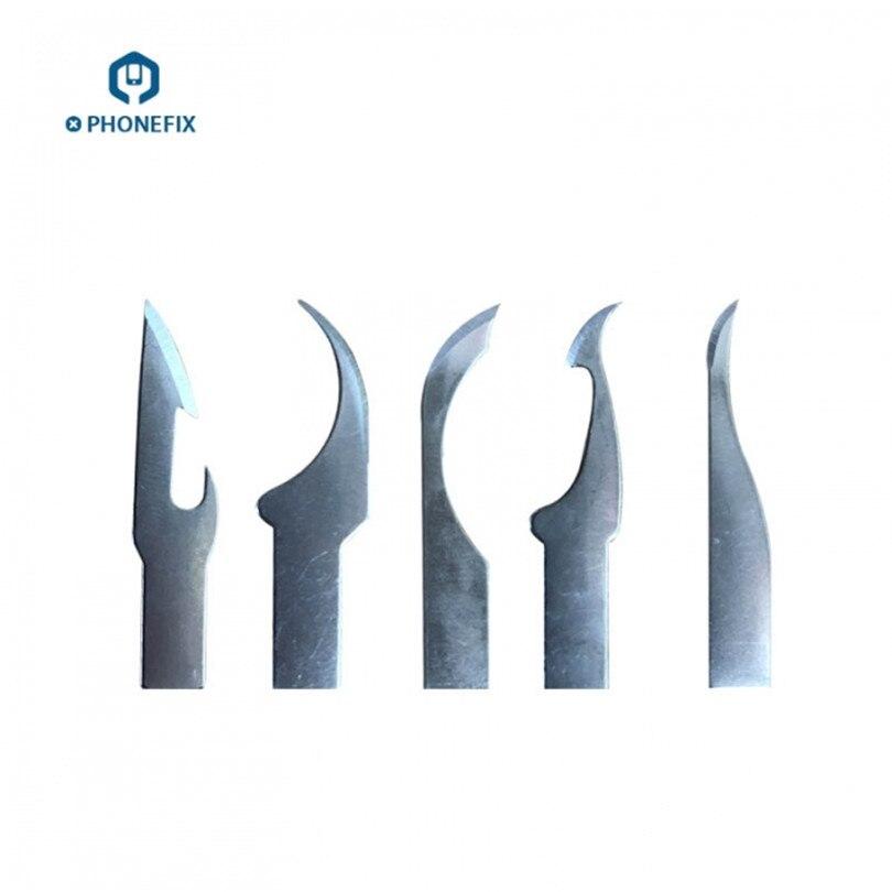 Cuchillo de 5 uds, cuchillo de raspado, cuchillo de raspado IC, cuchilla de eliminación de Chip CPU NAND BGA, cuchillo de Grabado de corte para teléfono, herramienta de reparación de placa PCB