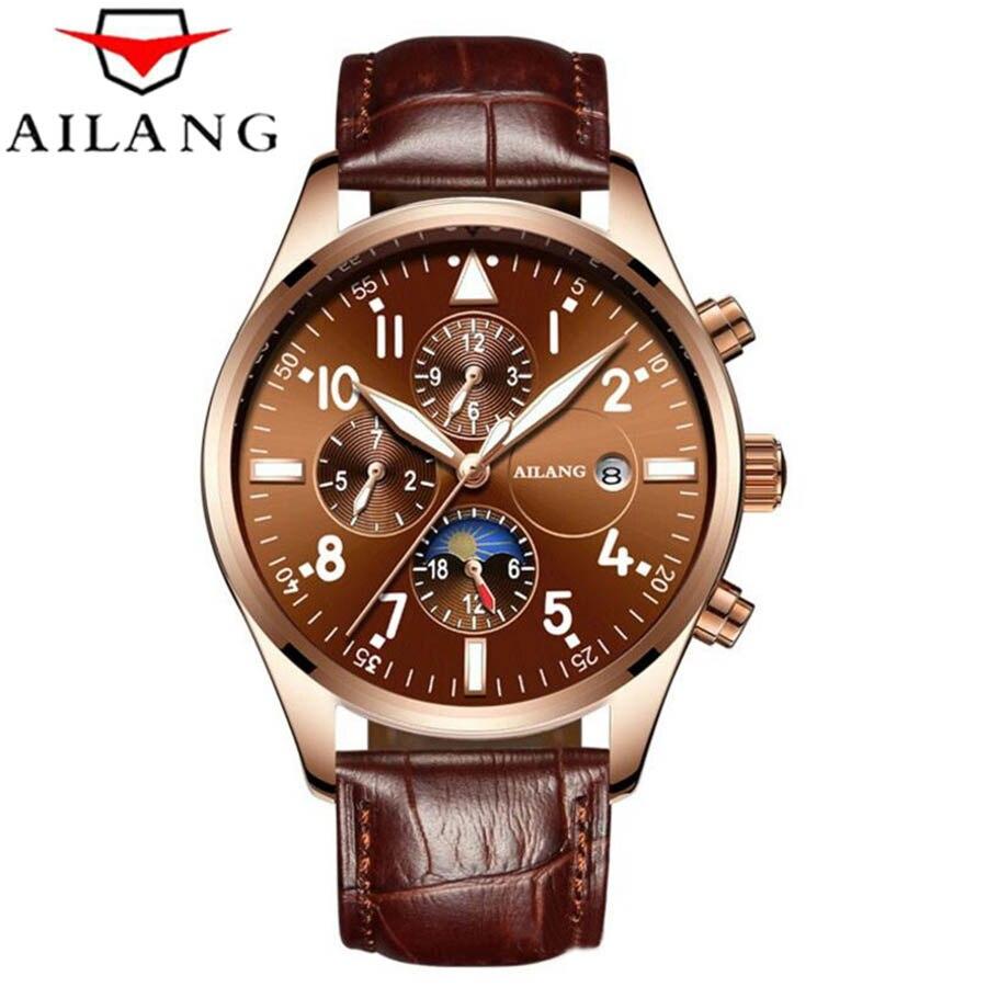 AILANG, relojes mecánicos automáticos para hombres, marca superior, reloj de pulsera de lujo resistente al agua fecha calendario luna de cuero, reloj Masculino
