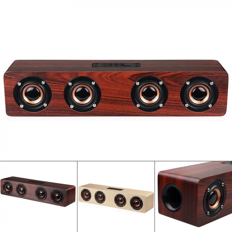 W8 4 قرون 12 واط خشبية سماعة لاسلكية تعمل بالبلوتوث-متوافق مع مكبر صوت TF بطاقة تشغيل و AUX للهاتف/الكمبيوتر/التلفزيون