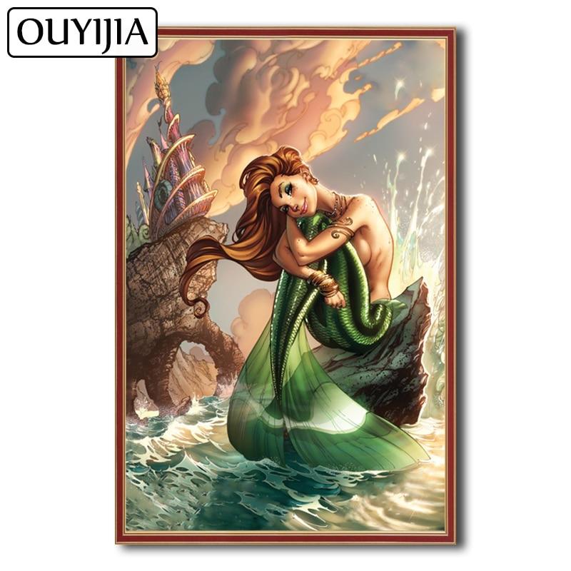 OUYIJIA sirena 5D DIY sirena pez Animal de dibujos animados, cuadro decorativo de diamantes, regalo, mosaico de diamantes de imitación, imagen bordada, Belleza