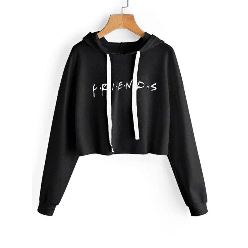 Manubeau 2018 Neue Freunde Brief Druck Hoodies Sweatshirts Harajuku Crew Neck Sweats Feminina Kurze Herbst frauen Kleidung