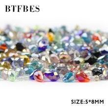 BTFBES 50 adet AB küpe kolye su damlası avusturyalı kristal boncuklar 5*8mm gözyaşı cam gevşek boncuk takı bilezik DIY