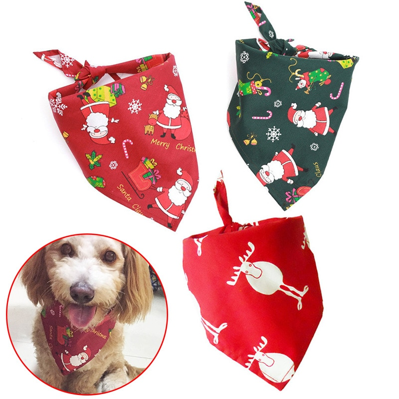 Newly Christmas Pet Bandana Santa Pattern Red Green Scarf Dog Bandana Cat Collar Bib TE889