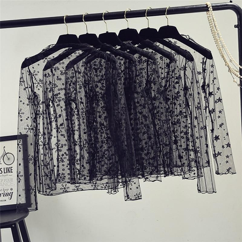 Сетчатый Топ для женщин, прозрачная в крупную сетку Прозрачная кружевная блузка