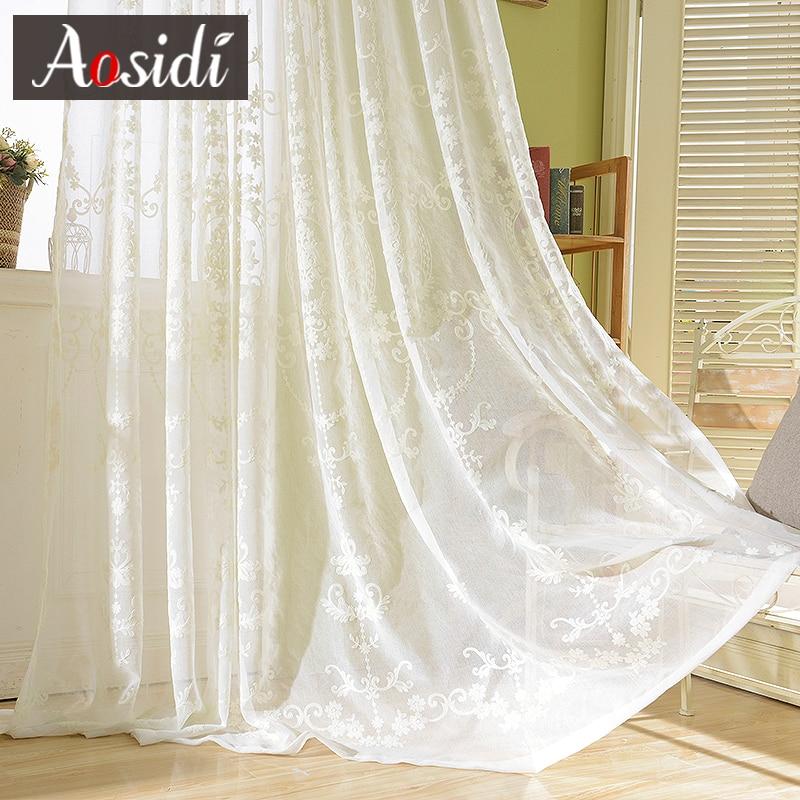 Europeu branco bordado sheer cortinas para sala de estar bordado tule cortinas para o quarto janela organza voile cortina