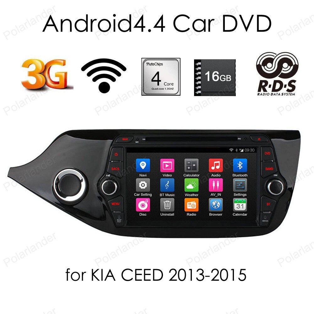 Para KIA CEED 2013-2015 2 din Android 4,4 coche reproductor de dvd 8 pulgadas 1024*600 pantalla coche Radio Estéreo Quad Core