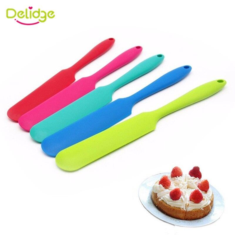 Силиконовые шпатели для торта, 1 шт., гладкие полировальные инструменты для украшения торта, Fondant, миксер для крема с длинной ручкой