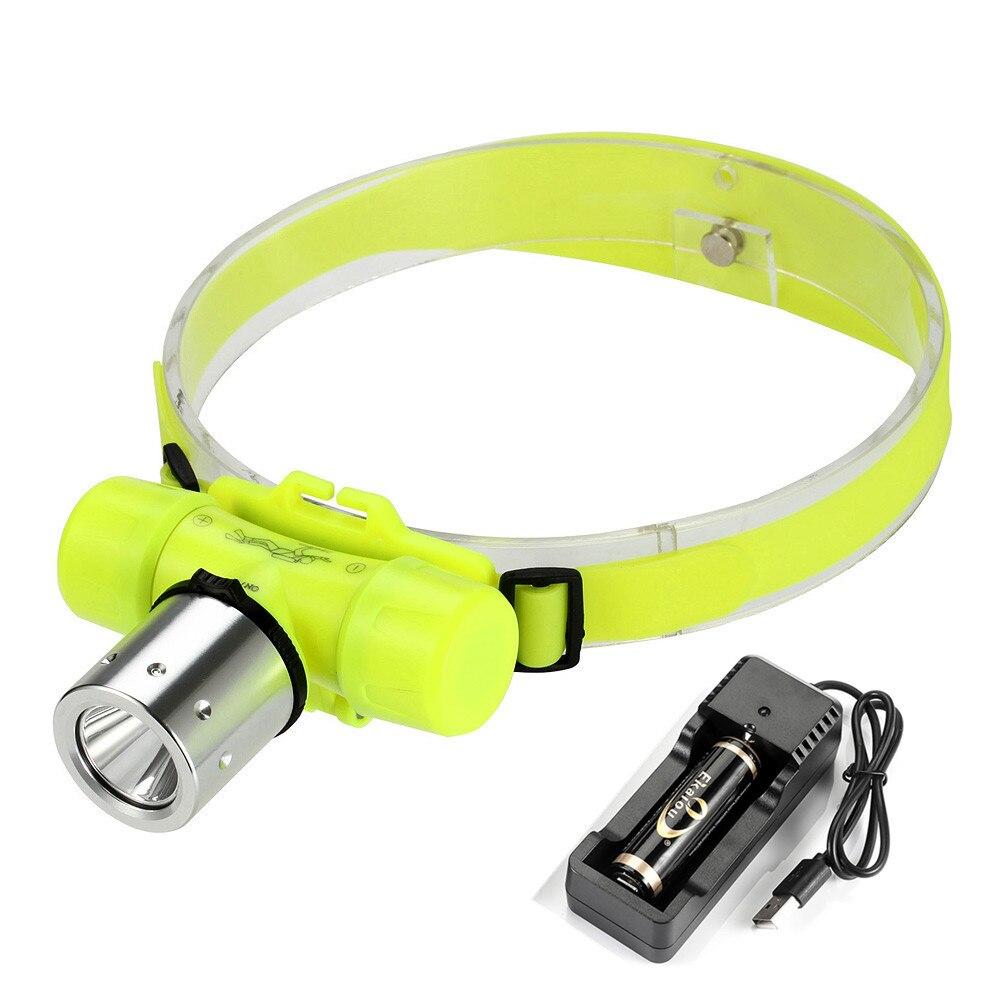 Linterna LED de buceo de 1000 lúmenes, 3 modos, lámpara subacuática, diadema, linterna de iluminación, linterna de cabeza a prueba de agua 18650