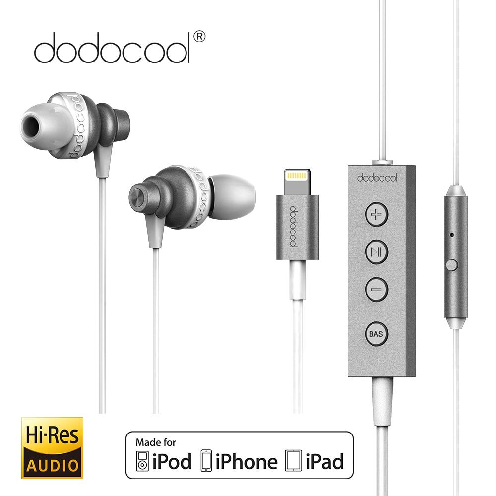 Dodocool MFi hi-res Audio auricular estéreo Lightning auricular con micrófono 24 bits de alta resolución de Audio para iphone X iphone 8 7 ipad