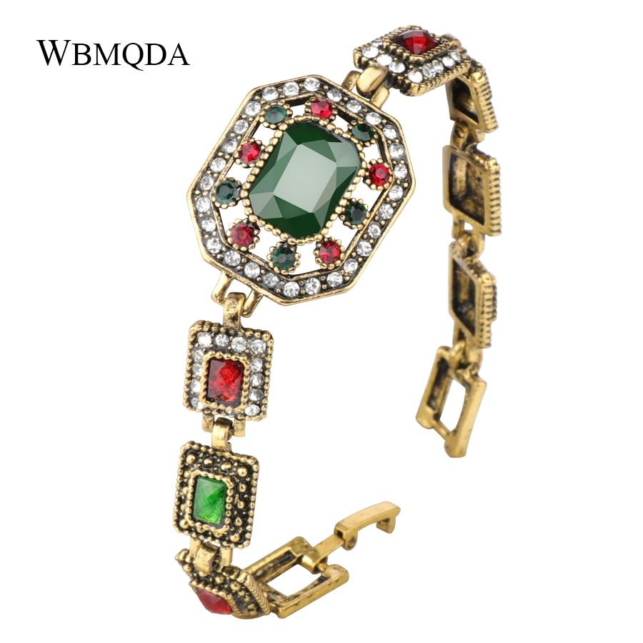 Wbmqda 2018 Turkish Bracelet Fashion Big Stone Crystal Flower Bracelets For Women Antique Gold Color Indian Vintage Jewelry