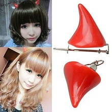 1 Pair Jewelry Hairpin Ears Clips Hair Devil Corner Horns Stereo Halloween
