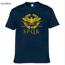 SPQR Roman Gladiator Imperial Golden Eagle T-Shirt Mens Casual Short O-Neck T Shirt Harajuku Tops Tees Shirt