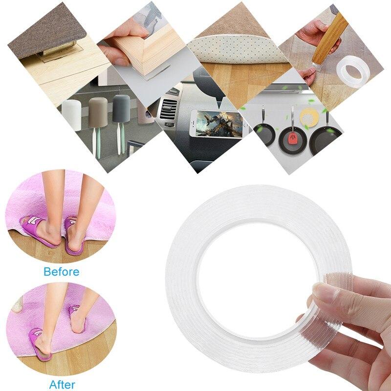 1/2/3/5m reutilizable Magic Nano Tape doble cara adhesivo Traceless Nano Magic Tape extraíble adhesivo lavable pegamento Gadget