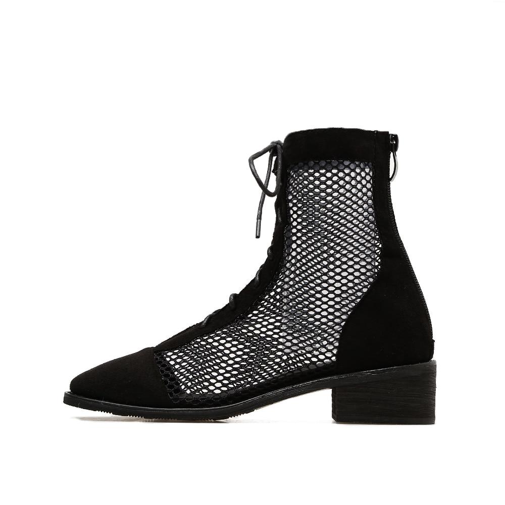 JINJOE 2018 Cool Summer Ankle Boots Women Spliced Mesh Hollow Cut Out Breathable Bootie Gladiator Roman Shoes Cuban Heels