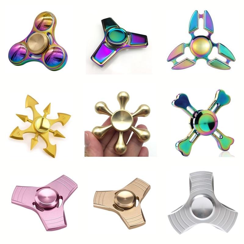 Антистрессовая игрушка-Спиннер, металлический гироскоп, ручная Спиннер, игрушки с радужной расцветкой, рождественский подарок для детей и ...