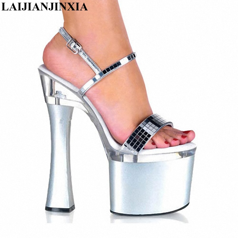 Сексуальная танцевальная обувь laijianjinxia, расшитая блестками супермодель, подиумная обувь на высоком каблуке 18 см, босоножки для ночного клуб...